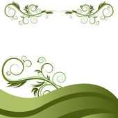 Green Wave Vine Flourishes Background — Stock Vector