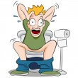 Constipated Man on Toilet - Stock Vector