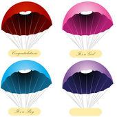 Parachute Message Labels — Stock Vector