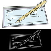 Checkbook and Pen — Stock Vector