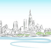 Chicago Cityscape Line Drawing — Stock Vector