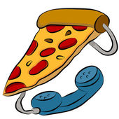 Pizza Phone Hotline — Stock Vector