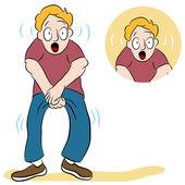 Muž s slabý močový měchýř — Stock vektor