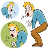 Homem de asma — Vetorial Stock