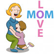 Mom Love Son — Stock Vector