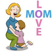 Mom Love Son — Stock Vector