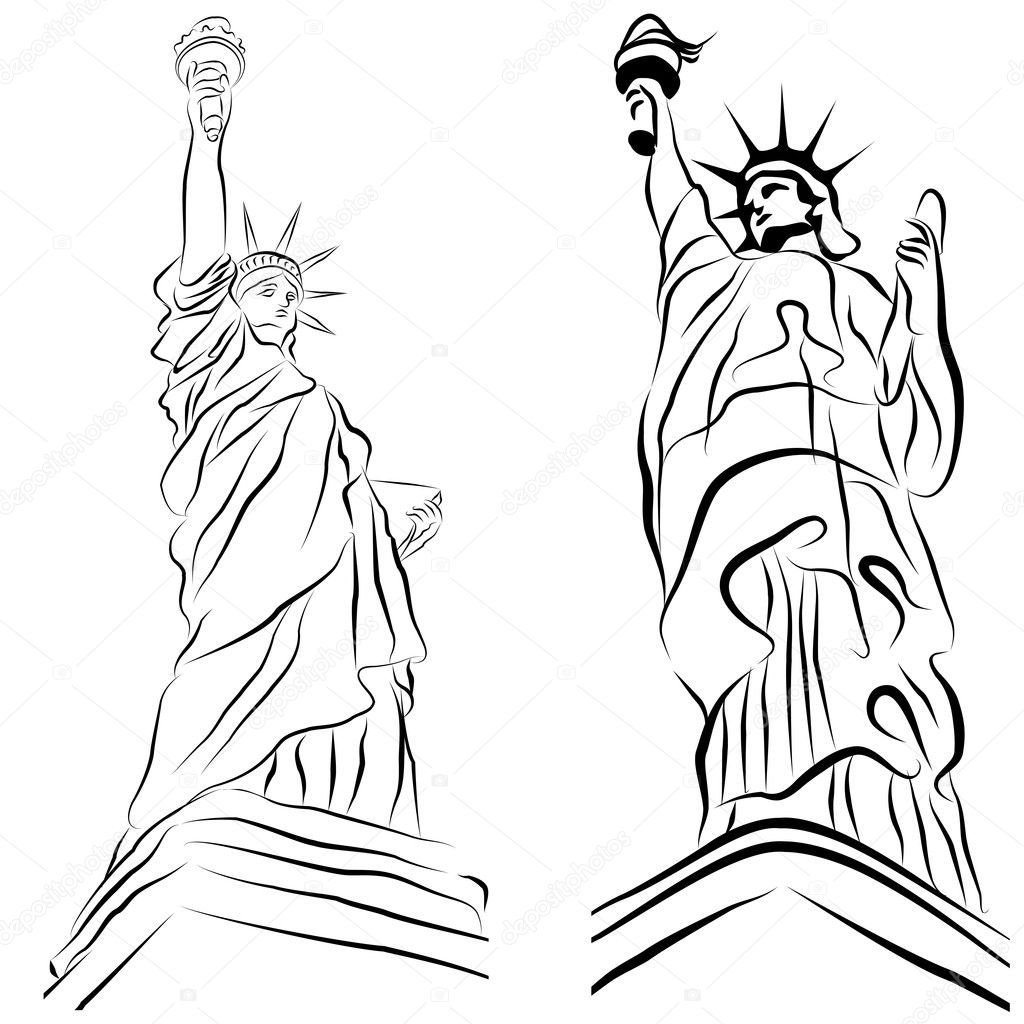 An image of a set of statue of liberty drawings. — Stock Vector #5763114