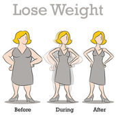 Lose Weight Woman — Stock Vector