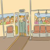 La muchedumbre espera para abordar el metro — Vector de stock