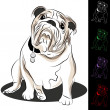 Bulldog Drawing Set — Stock Vector