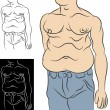 Man With Abdominal Fat - Stock Vector