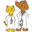 Cat And Dog Pet Doctors — Stock Vector