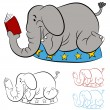 Royalty-Free Stock Vector Image: Circus Elephant Reading a Book
