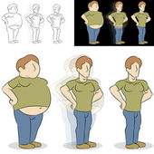Man Losing Weight Transformation — Stock Vector