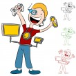Computer Video Game Addict Kid — Imagen vectorial