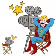 Stock Vector: Superhero Movie Star