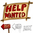 Stock Vector: Help Wanted Sign Set