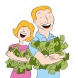 Stock Vector: Holding Piles of Money