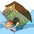 Stock Vector: House Sinking