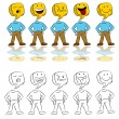 Emotion Expressions Icon Man — Stockvektor