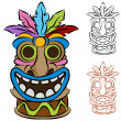 Stock Vector: Wooden Tribal Tiki Idol