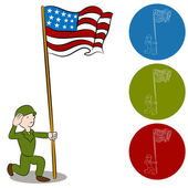American Solider Saluting Flag — Stock Vector