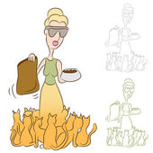 Cat Lady Feeding Food To Her Pets — Stock Vector