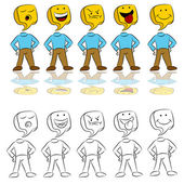 Emotion Expressions Icon Man — Stock Vector