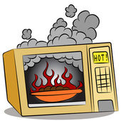 Food Burning In Microwave Oven — Stock Vector