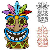 Wooden Tribal Tiki Idol — Stock Vector
