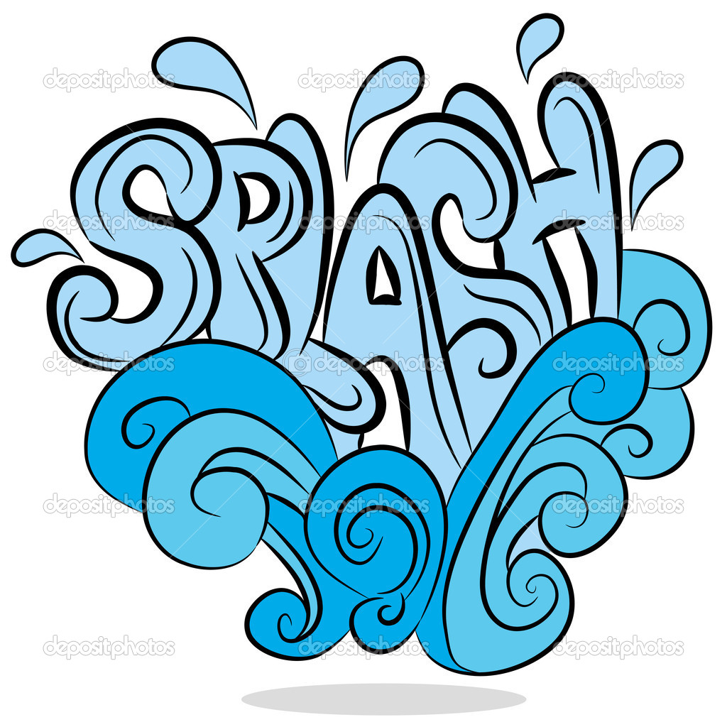 An image of a water splash sound effect text. — Stock Vector #6090453