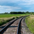 Railroad Tracks Curving Off into the Distance - Stock Photo