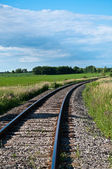 Railroad Tracks Curving Off into the Distance — Stock Photo