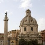Trajans Column and Church Rome — Stock Photo