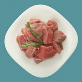 Stew Meat Raw Top View — Stock Photo