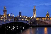 The Alexander III bridge at night. Paris, France — Stock Photo