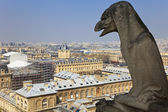 Famous chimera of Notre-Dame overlooking Paris. — Stock Photo