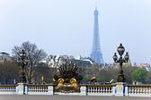 Street lantern on the Alexandre III Bridge in Paris, France. — Stock Photo