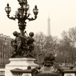 Stock Photo: Street lantern on the Alexandre III Bridge in Paris, France.