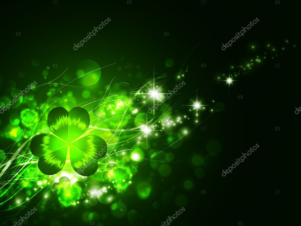St.Patrick holiday night magic background with clover  — Stock Vector #6461149