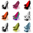 High heel woman shoes — Stock Vector #6532292