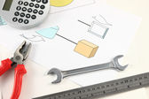 Engineer desktop with parallel hand tools. — Stock Photo