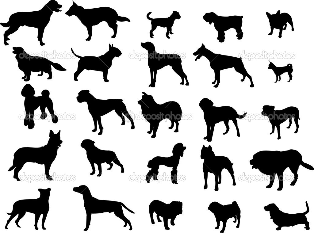 Collection of dogs silhouette - vector — Stock Vector #6363922