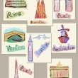 European cities sights in watercolours — Imagens vectoriais em stock