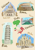 Italian sights in watercolours — Stock Vector