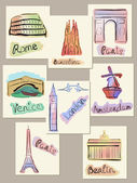 European cities sights in watercolours — 图库矢量图片