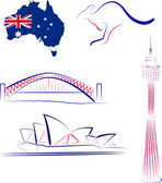 Australia sights and symbols — 图库矢量图片