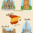 Stock Vector: Spanish sights in watercolor