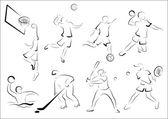 стилизованные спортсмены - игры — Cтоковый вектор