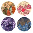 Medals with houses - Stock Vector